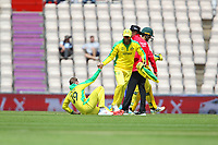 Cricket - 2019 ICC Cricket World Cup warm ups - Australia vs. Sri Lanka<br /> <br /> Glenn Maxwell helps Steve Smith to his feet after Smith took a ball to the groin whilst fielding during the cricket world cup warm up match at the Hampshire Bowl Southampton England<br /> <br /> COLORSPORT/SHAUN BOGGUST