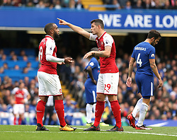 17 September 2017 London : Premier League Football : Chelsea v Arsenal : Alexandre Lacazette and Granit Xhaka (right) of Arsenal in discussion.<br /> Photo: Mark Leech