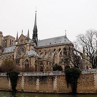 Europe, France, Paris. View of Notre-Dame Cathedral on Ile de la Cite.