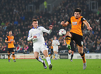 Hull City's Harry Maguire clears under pressure from Leicester City's Jamie Vardy<br /> <br /> Photographer Chris Vaughan/CameraSport<br /> <br /> Football - Capital One Cup Round 4 - Hull City v Leicester City - Tuesday 27th October 2015 - Kingston Communications Stadium - Hull<br />  <br /> © CameraSport - 43 Linden Ave. Countesthorpe. Leicester. England. LE8 5PG - Tel: +44 (0) 116 277 4147 - admin@camerasport.com - www.camerasport.com