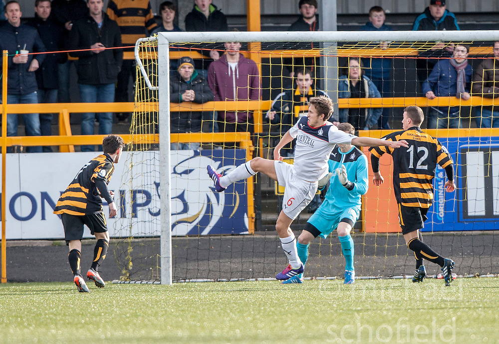 Alloa Athletic's Kevin Cawley scoring their second goal.<br /> Alloa Athletic 3 v 0 Falkirk, Scottish Championship game played today at Alloa Athletic's home ground, Recreation Park.<br /> © Michael Schofield.