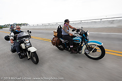 Jody Perewitz riding her 1936 Harley-Davidson VLH just ahead of her riding partner Tom Banks in the Cross Country Chase motorcycle endurance run from Sault Sainte Marie, MI to Key West, FL. (for vintage bikes from 1930-1948). Stage-10 covered 110 miles from Miami to the finish in Key West, FL USA. Sunday, September 15, 2019. Photography ©2019 Michael Lichter.