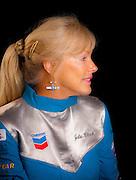 Julie Clark photographed in the Weeks Hangar during AirVenture 2009, Oshkosh, Wisconsin.