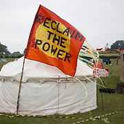 The camp is split into sections of different colors. Reclaim the Power camp is set up in a field near Balcombe. The site is squatted but so far nor the owner nor police has made any moves to stop the camp from setting up. It is organised by the environmental group No Dash for Gas and the movement is protesting against the company Cuadrilla's fracking testing near Balcombe and have come to Balcombe to len its support to the local protests against the drilling for gas.