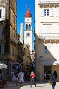 Street scene by Spianada and Church of Saint Spyridon  in Kerkyra, Corfu Town, Greece