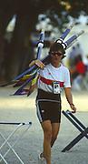 Banyoles, SPAIN, German Women's Eight, GER W8+   cox, Daniela NEUNAST. carries the blades to the dock. 1992 Olympic Regatta, Lake Banyoles, Barcelona, SPAIN.    [Mandatory Credit: Peter Spurrier: Intersport Images]