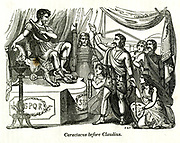 Caractacus before Claudius [Caractacus was a 1st-century AD British chieftain of the Catuvellauni tribe, who resisted the Roman conquest of Britain]. from the book History of England : with separate historical sketches of Scotland, Wales, and Ireland; from the invasion of Julius Cæsar until the accession of Queen Victoria to the British throne. By Russell, John, A. M., Published in Philadelphia by Hogan & Thompso in 1844