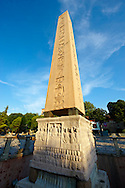 The base of the Egyptian Obelisk of Thutmosis III, (Dikilitas) a centre piece of the Roman Hippadrome, showing Roman Emperor Theodosius offering a laurel wreath to the victor from the Kathisma. Istanbul Turkey .<br /> <br /> If you prefer to buy from our ALAMY PHOTO LIBRARY  Collection visit : https://www.alamy.com/portfolio/paul-williams-funkystock/istanbul.html<br /> <br /> Visit our TURKEY PHOTO COLLECTIONS for more photos to download or buy as wall art prints https://funkystock.photoshelter.com/gallery-collection/3f-Pictures-of-Turkey-Turkey-Photos-Images-Fotos/C0000U.hJWkZxAbg