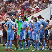 HARRISON, NEW JERSEY- JULY 24: NYCFC players during a drinks break in searing heat during the New York Red Bulls Vs New York City FC MLS regular season match at Red Bull Arena, Harrison, New Jersey on July 24, 2016 in Harrison, New Jersey. (Photo by Tim Clayton/Corbis via Getty Images)