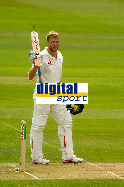Photo. Glyn Thomas. <br /> England v West Indies. Second Test, nPower Test Series.<br /> Day 2. 30/07/2004.<br /> Andrew Flintoff acknowledges the applause of the crowd after reaching his century, on the way to his highest Test score of 167.