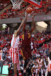 19 February 2017:  Maurice Kirby works his way aorund Deontae Hawkins(23) during a College MVC (Missouri Valley conference) mens basketball game between the Loyola Ramblers and Illinois State Redbirds in  Redbird Arena, Normal IL