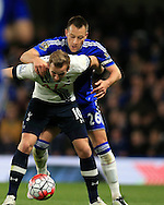 Harry Kane of Tottenham Hotspur is marked closely by Chelsea capt John Terry. Barclays Premier league match, Chelsea v Tottenham Hotspur at Stamford Bridge in London on Monday 2nd May 2016.<br /> pic by Andrew Orchard, Andrew Orchard sports photography.