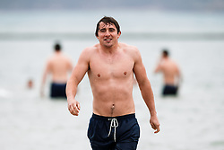 Rhodri Williams looks on as Bristol Rugby take part in a morning after game recovery session in the sea - Rogan/JMP - 29/10/2017 - RUGBY UNION - Jersey Marine Lake - St Helier, Jersey - Jersey Reds v Bristol Rugby - Greene King IPA Championship.