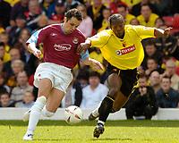 Picture: Henry Browne.<br /> Date: 08/05/2005.<br /> Watford v West Ham United Coca-Cola Championship.<br /> Matthew Etherington of West Ham holds off Lloyd Doyley of Watford.