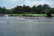 Henley on Thames, England, United KingdomFriday, 02/07/2021,  Women's coxed for W4+, passes the umpire launch,  Henley Women's Regatta, Henley Reach,  [Peter Spurrier/Intersport Images],
