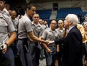 Sen. John McCain greets cadets from the Citadel at the end of a health care town hall meeting with fellow Republican Sen. Lindsay Graham September 14, 2009 at the Citadel in Charleston, SC.