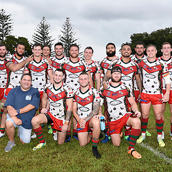 BRISBANE, AUSTRALIA - MARCH 19: Wynnum Manly Players pose for a photo after the Round 3 QRL Intrust Super Cup match between Wynnum Manly and Tweed Heads Seagulls at Ron Stark Oval on March 18, 2017 in Brisbane, Australia. (Photo by Patrick Kearney/Wynnum Manly Seagulls)