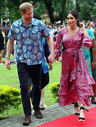 The Duke of Sussex and Duchess of Sussex are seen on a visit to the University of the South Pacific campus in Suva on day two of their official tour to Fiji.<br /><br />24 October 2018.<br /><br />Please byline: Vantagenews.com