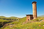 The Seljuk Turk Mosque of Ebul Minuchihr (Minuchir) built in 1072, Ani archaelogical site on the ancient Silk Road  , Kars , Anatolia, Turkey .<br /> <br /> If you prefer to buy from our ALAMY PHOTO LIBRARY  Collection visit : https://www.alamy.com/portfolio/paul-williams-funkystock/ani-turkey.html<br /> <br /> Visit our TURKEY PHOTO COLLECTIONS for more photos to download or buy as wall art prints https://funkystock.photoshelter.com/gallery-collection/3f-Pictures-of-Turkey-Turkey-Photos-Images-Fotos/C0000U.hJWkZxAbg