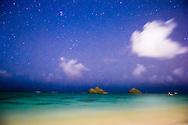 Long exposure photograph at night, Mokulua Islands, Lanikai Beach, Oahu, Hawaii