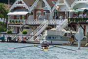 """Henley on Thames, United Kingdom, 3rd July 2018, Sunday,  """"Henley Royal Regatta"""", The Diamond Challenge Sculls, Finalist,Kjetil BORCH NOR M1X,  slumps in defeat, as he crosses the Finish Line    View, Henley Reach, River Thames, Thames Valley, England, UK."""