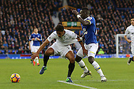 Kyle Naughton of Swansea City has his shirt pulled by Idrissa Gueye of Everton. Premier league match, Everton v Swansea city at Goodison Park in Liverpool, Merseyside on Saturday 19th November 2016.<br /> pic by Chris Stading, Andrew Orchard sports photography.