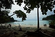 Manuel Antonio's famous half moon beach, in Manuel Antonio National Park, Costa Rica.