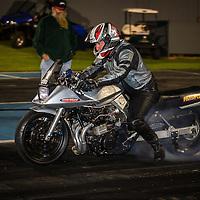 Brett Allen (1350) warms the rear tyre on his Suzuki Katana Modified Bike at the Perth Motorplex.