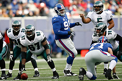 7 Dec 2008: Philadelphia Eagles quarterback Donovan McNabb #5 points to New York Giants defensive tackle Fred Robbins #98 after encroaching during the game against the New York Giants on December 7th, 2008. The Eagles won 20-14 at Giants Stadium in East Rutherford, New Jersey. (Photo by Brian Garfinkel)