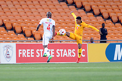 11/08/2018:Johannesburg, Dumisa Zuma  player from Kaizer Chiefs takled by Makhehleni Makhaula  during their clash with Free State Stars for the MTN8 quarter-final clash held at FNB stadium.1939<br /> Picture: Matthews Baloyi/AFrican News Agency (ANA)