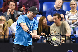 October 4, 2018 - St. Louis, Missouri, U.S - JIM COURIER with a backhand shot during the Invest Series True Champions Classic on Thursday, October 4, 2018, held at The Chaifetz Arena in St. Louis, MO (Photo credit Richard Ulreich / ZUMA Press) (Credit Image: © Richard Ulreich/ZUMA Wire)