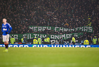 Football - 2019 Betfred Scottish League Cup Final - Celtic vs. Rangers<br /> <br /> Celtic fans display a banner at full time, Hampden Park Glasgow.<br /> <br /> COLORSPORT/BRUCE WHITE