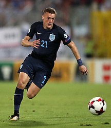 England's Jamie Vardy during the 2018 FIFA World Cup Qualifying, Group F match at the National Stadium, Ta' Qali. PRESS ASSOCIATION Photo. Picture date: Friday September 1, 2017. See PA story SOCCER Malta. Photo credit should read: Nick Potts/PA Wire. RESTRICTIONS: Use subject to FA restrictions. Editorial use only. Commercial use only with prior written consent of the FA. No editing except cropping.