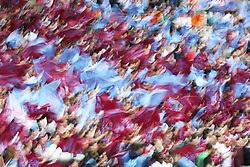 May 27, 2019 - London, England, United Kingdom - Aston Villa fans wave their flags prior to the Sky Bet Championship Play Off Final between Aston Villa and Derby County at Wembley Stadium, London on Monday 27th May 2019. (Credit Image: © Mi News/NurPhoto via ZUMA Press)