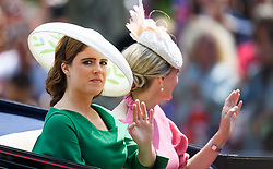 © Licensed to London News Pictures. 09/06/2018. London, UK. Princess Eugenie of York attends Trooping The Colour ceremony in London to mark the 92nd birthday of Queen Elizabeth II, Britain's longest reigning monarch. Photo credit: Ben Cawthra/LNP
