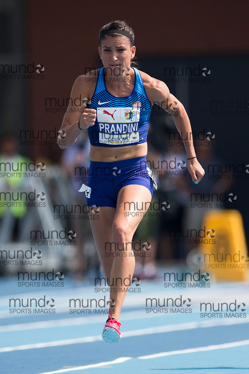 Toronto, ON -- 11 August 2018: Jenna Prandini (USA), 100m semi-final at the 2018 North America, Central America, and Caribbean Athletics Association (NACAC) Track and Field Championships held at Varsity Stadium, Toronto, Canada. (Photo by Sean Burges / Mundo Sport Images).