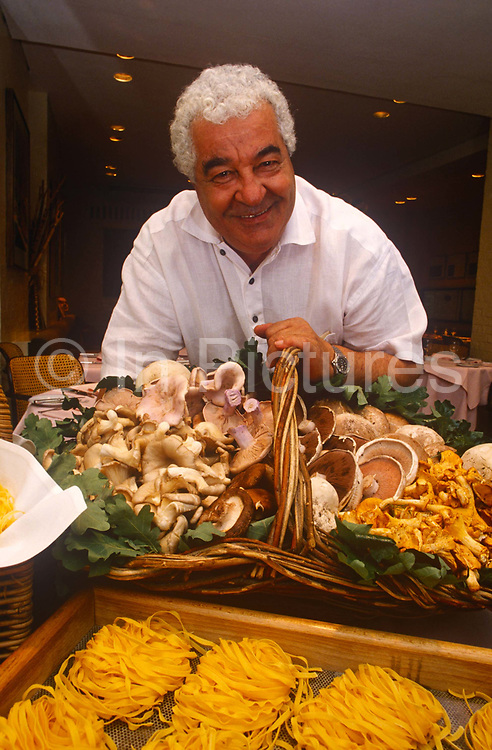A portrait of Italian chef Antonio Carluccio on around June 1996 in London, England. Antonio Carluccio, OBE OMRI born 19 April 1937 is an Italian chef, restaurateur and food expert, based in London. He is known as the godfather of Italian gastronomy, with a career stretching back more than 50 years.