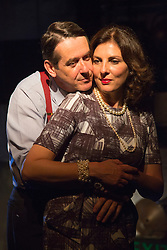 © Licensed to London News Pictures. 01/07/2015. London, UK. Adrian Lukis as Laurence Olivier and Gina Bellman as Vivien Leigh. Photocall for the European Premiere of Orson's Shadow by Austin Pendleton at the Southwark Playhouse. The comedy, based on true events as Orson Wells and Laurence Olivier work together for the first time, runs from 1 to 25 July 2015. Photo credit : Bettina Strenske/LNP