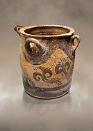 Minoan small bridge spouted jars decorated with lilies, Machlos 1500-1400 BC; Heraklion Archaeological  Museum. .<br /> <br /> If you prefer to buy from our ALAMY PHOTO LIBRARY  Collection visit : https://www.alamy.com/portfolio/paul-williams-funkystock/minoan-art-artefacts.html . Type -   Heraklion   - into the LOWER SEARCH WITHIN GALLERY box. Refine search by adding background colour, place, museum etc<br /> <br /> Visit our MINOAN ART PHOTO COLLECTIONS for more photos to download  as wall art prints https://funkystock.photoshelter.com/gallery-collection/Ancient-Minoans-Art-Artefacts-Antiquities-Historic-Places-Pictures-Images-of/C0000ricT2SU_M9w