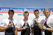 Poznan, POLAND,    GBR M4- Silver medalist left to right Tom JAMES, Steve WILLIAMS, Peter REED and Andy TWIGGS HODGE,  at the 2008 FISA World Cup. Rowing Regatta. Malta Rowing Course on Sunday, 22/06/2008. [Mandatory Credit:  Peter SPURRIER / Intersport Images] Rowing Course:Malta Rowing Course, Poznan, POLAND