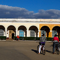 Central America, Cuba, Remedios. Bicycles and colonial architecture of Remedios.