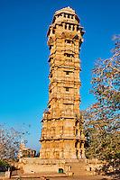 Inde, état du Rajasthan, fort de Chittorgarh classé Patrimoine Mondial de l'UNESCO, tour de la Victoire // India, Rajasthan, Chittorgarh fort, Unesco world heritage, Victory tower
