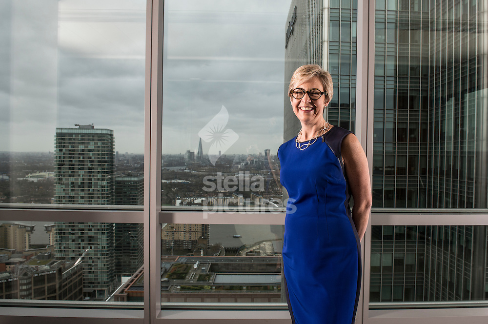Brenda Trenowden, Head of FIG Europe and Head of Banks, DF, Europe, Americas & Africa for ANZ pictured at their offices in Canary Wharf, London. <br /> Picture by Daniel Hambury/Stella Pictures Ltd +44 7813 022858<br /> 26/01/2016