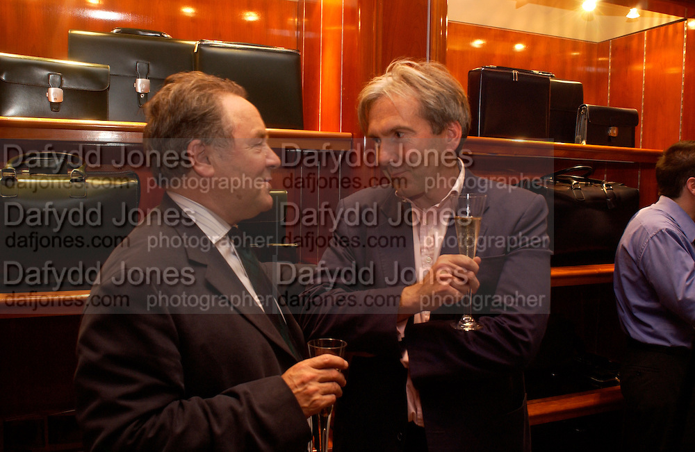 Peter McKay, Nick Foulkes biography of Count D'Orsay, Love of the Dandies  party, Dunhill, Jermyn St. 3 June 2003. © Copyright Photograph by Dafydd Jones 66 Stockwell Park Rd. London SW9 0DA Tel 020 7733 0108 www.dafjones.com