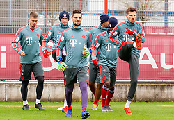 14.03.2019, Säbener Strasse, Muenchen, GER, 1. FBL, FC Bayern Muenchen vs 1. FSV Mainz 05, Training, im Bild v.l. Lars Lukas Mai (FC Bayern), Thomas Müller (FC Bayern), Sven Ulreich (FC Bayern), Leon Goretzka (FC Bayern) // during a trainings session before the German Bundesliga 26th round match between FC Bayern Muenchen and 1. FSV Mainz 05 at the Säbener Strasse in Muenchen, Germany on 2019/03/14. EXPA Pictures © 2019, PhotoCredit: EXPA/ Lukas Huter