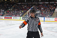 KELOWNA, BC - JANUARY 31: Referee Brayden Arcand stands on the ice at the Kelowna Rockets against the Spokane Chiefs at Prospera Place on January 31, 2020 in Kelowna, Canada. (Photo by Marissa Baecker/Shoot the Breeze)