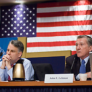 """John Lehman (right) and Timothy Roemer (left). Panel: Al Qaeda. The 9/11 Commission's 12th public hearing on """"The 9/11 Plot"""" and """"National Crisis Management"""" was held June 16-17, 2004, in Washington, DC."""