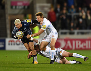 Exeter Chiefs wing Lachie Turner tackles Sale Sharks stand-off James O'Connor during the The Aviva Premiership match Sale Sharks -V- Exeter Chiefs  at The AJ Bell Stadium, Salford, Greater Manchester, England on Friday, October 27, 2017. (Steve Flynn/Image of Sport)