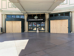EXCLUSIVE: Las Vegas is a ghost town after all hotels and Casinos close due to the Covid19 pandemic , Police block off the entrance to the hotels and Casinos. 11 Apr 2020 Pictured: Las Vegas . Photo credit: Eric Scott / MEGA TheMegaAgency.com +1 888 505 6342