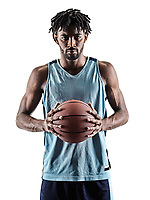 one afro-american african basketball player man isolated in silhouette shadow on white background